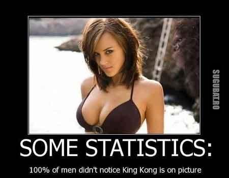 Statistica: Nici un barbat nu il observa pe King Kong pe fundal