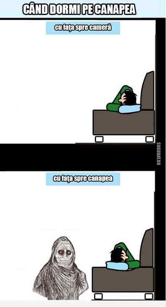 Cand dormi pe canapea