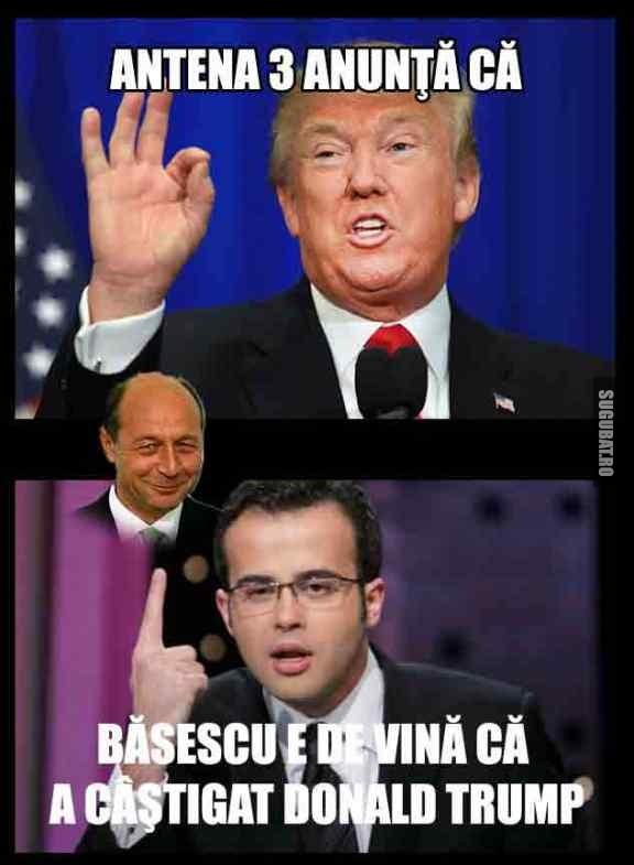 Antena 3 anunta ca Basescu e de vina ca a castigat Donald Trump