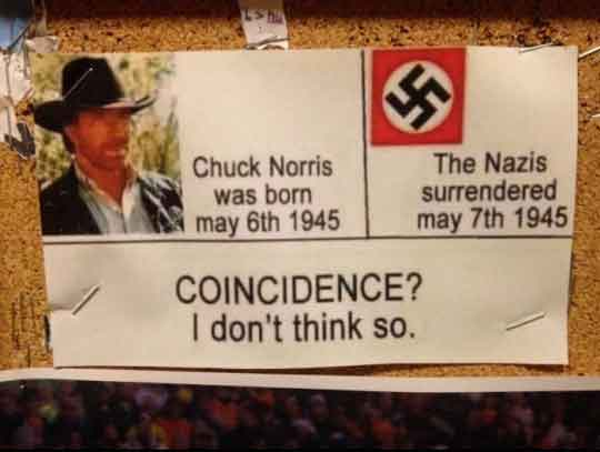 Chuck Norris s-a nascut cu o zi inainte ca nazistii sa se predea. Coincidenta?