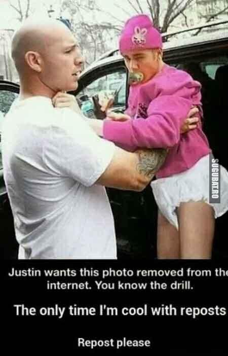 Justin Bieber vrea ca aceasta imagine sa dispara de pe internet
