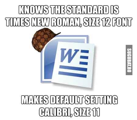 Standardul este Times New Roman 12, iar Word il seteaza default Calibri 11